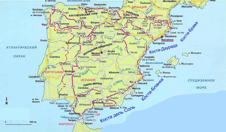 На карте испании бенидорм